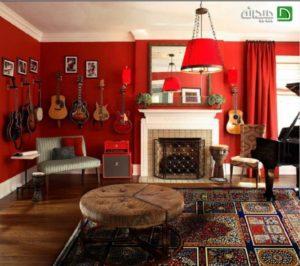red room fireplace veneer design ideas