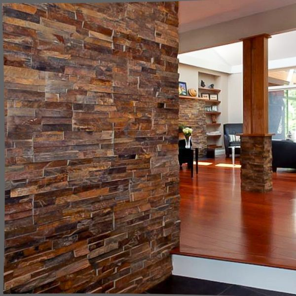 Living Room Designs with Stacked Stone Tile