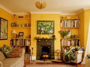 yellow room fireplace veneer design