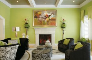 green room fireplace veneer design ideas