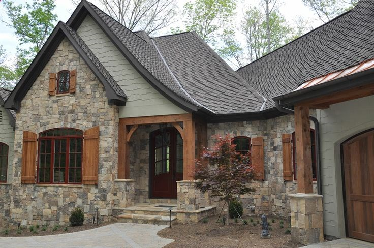 My parents new faux stacked stone veneer makes their home look like a castle